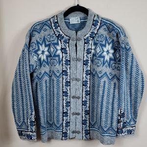 Gann Sandes Sporty Gray/Blue Wool Nordic Sweater